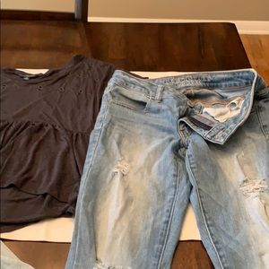 American eagle top/ jeans & buckle top.